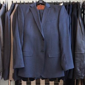 Jos A Bank 40L Slim Fit Blue Micro Checked Suit